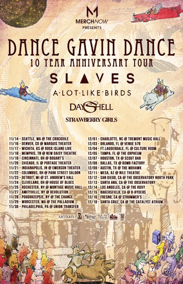 Dance Gavin Dance 10 Year Tour Poster