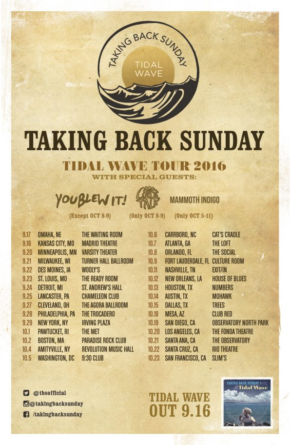 Taking Back Sunday - Tidal Wave Tour (2016)